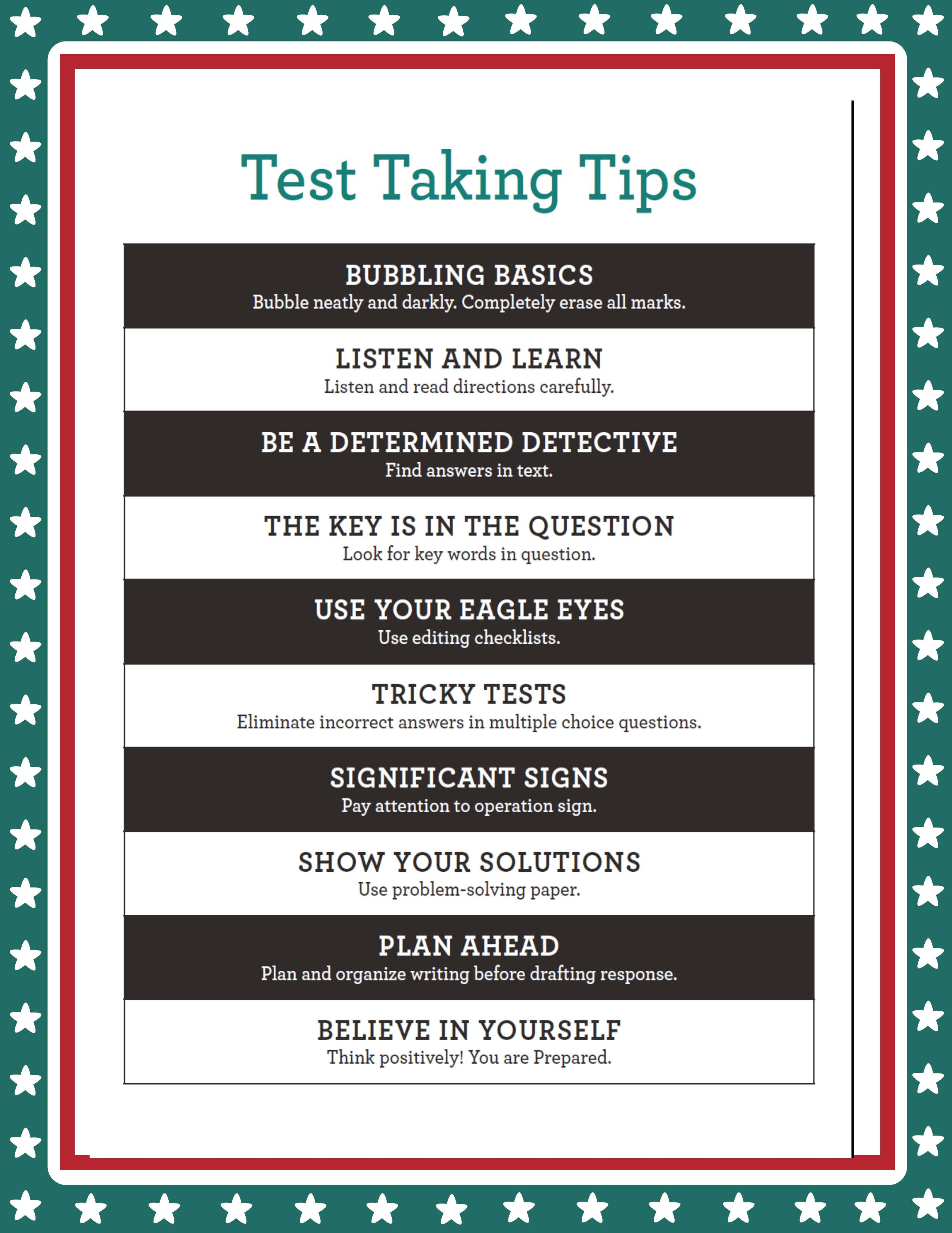 quiz taking tips The best free resource for test taking tips and strategies along with advice on  note taking, studying, cramming, reducing test anxiety, and more.