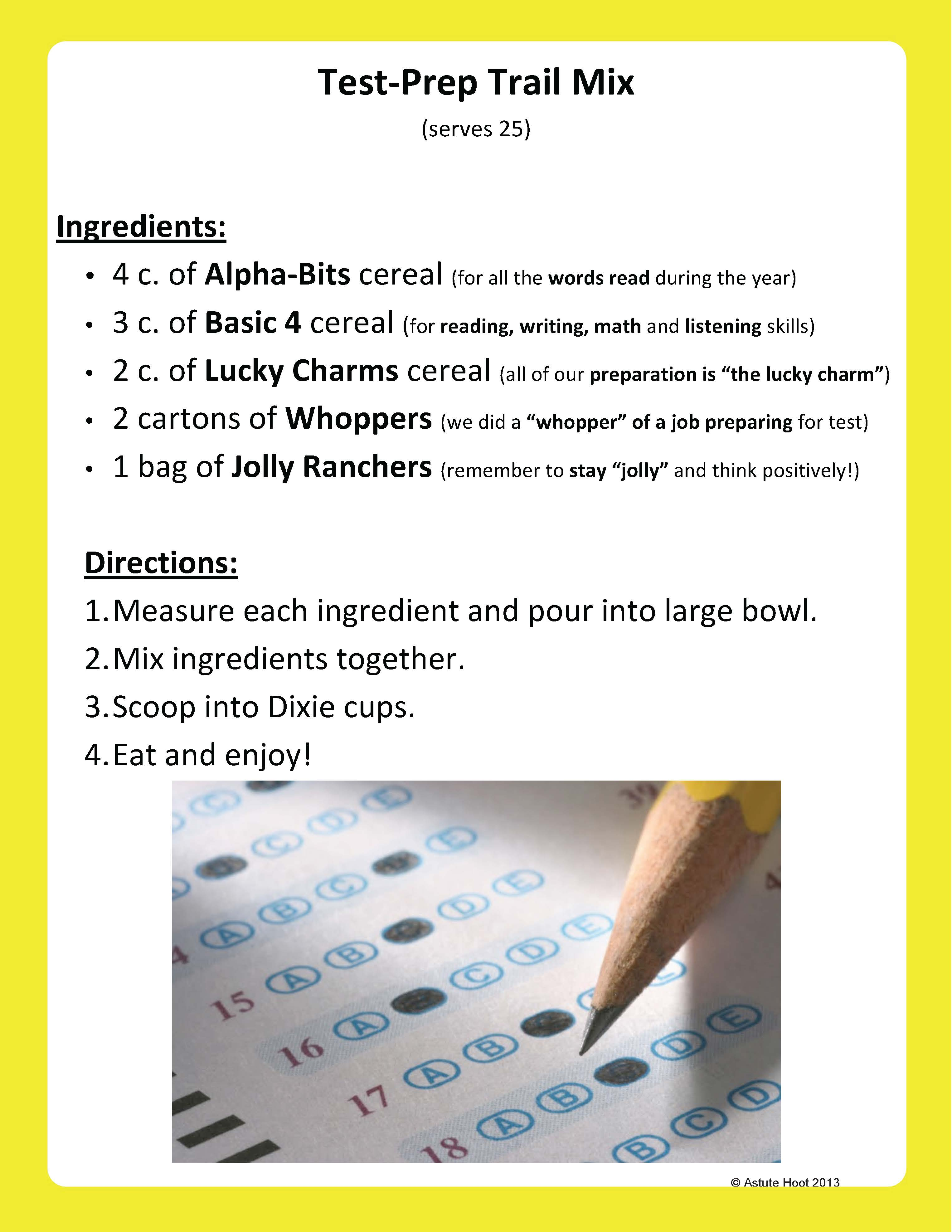 Testing Trail Mix: Read and make Testing Trail Mix together. Put in ...