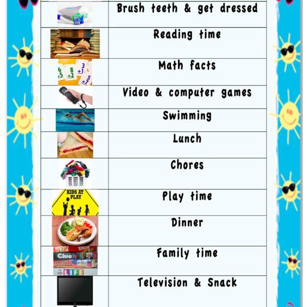 Summer Visual Schedule
