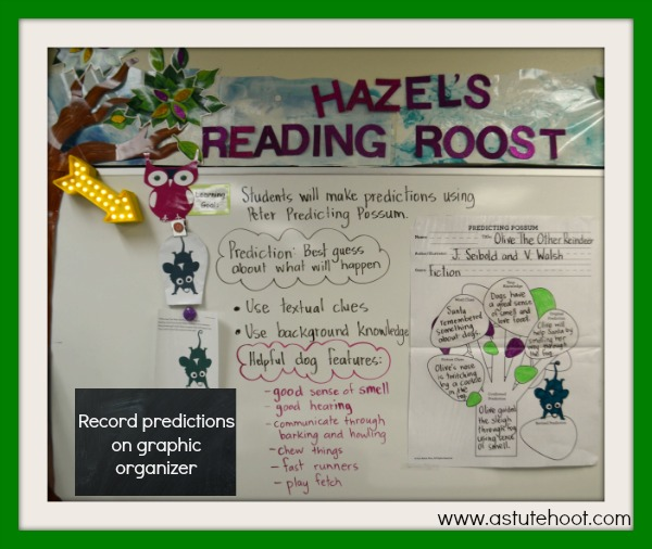 Record predictions on graphic organizer