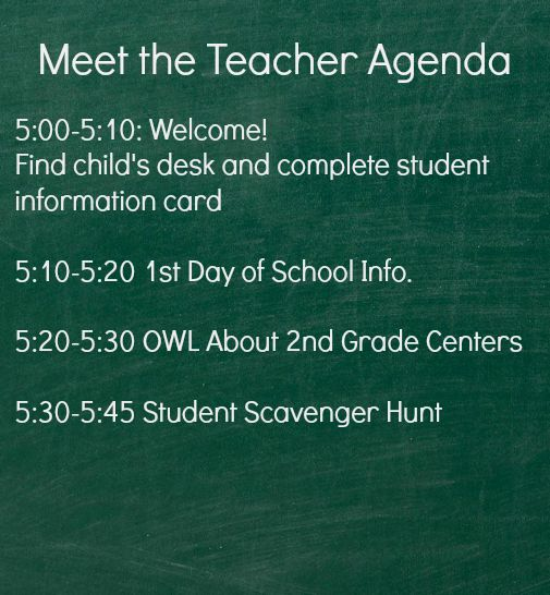 Meet the Teacher Agenda