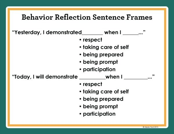 Behavior Self Reflection Sentence Stems