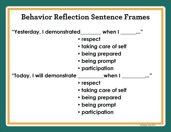 Behavior Self Reflection Sentence Stems