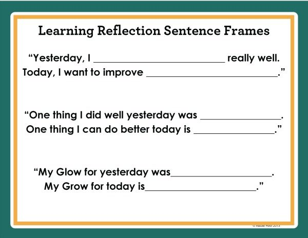 Learning Self Reflection Sentence Stems