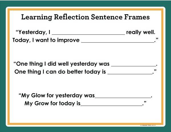 Learning Self Reflection Sentence Stems